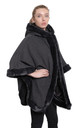 Caitlin Grey Faux Fur Lined Hooded Cape by De La Creme Fashions