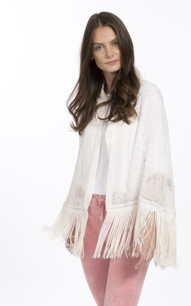 silk devore cape with collar Cream by Spiritual Hippie