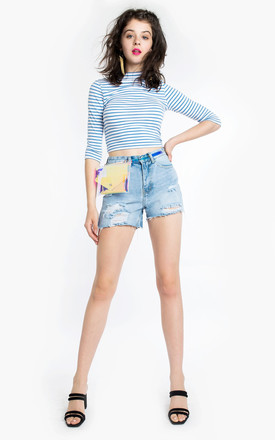 ASYMMETRIC DENIM SHORTS by Momokrom
