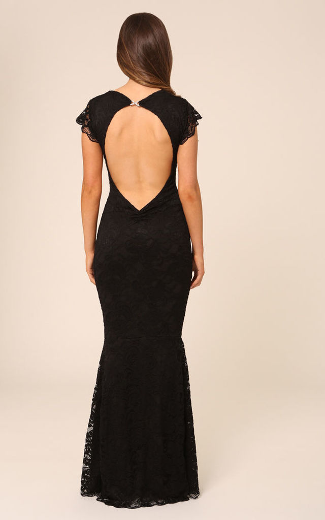 9c041dc08ee0c Faye Black Backless Lace Maxi Dress With Fishtail   Cap Sleeves by Honor  Gold