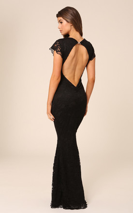 Faye Black Backless Lace Maxi Dress With Fishtail & Cap Sleeves by Honor Gold Product photo