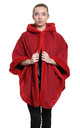 Caitlin Red Faux Fur Lined Hooded Cape by De La Creme Fashions