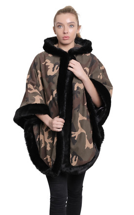 Caitlin Green Camo Print Faux Fur Lined Hooded Cape by De La Creme Fashions