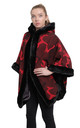 Caitlin Red Camo Print Faux Fur Lined Hooded Cape by De La Creme Fashions