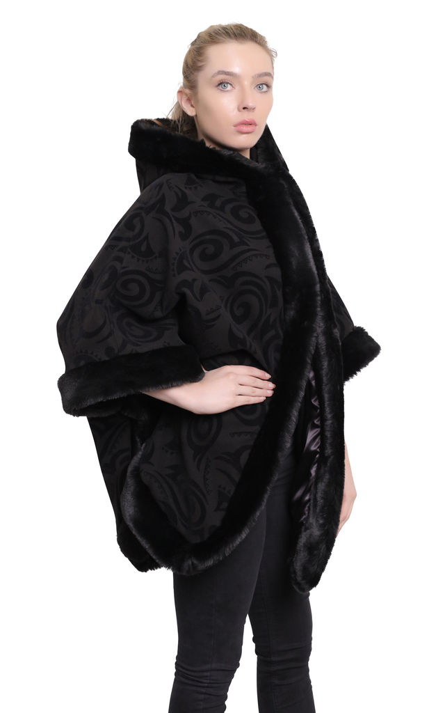 Caitlin Black Tribal Print Oversized Fur Lined Hooded Cape by De La Creme Fashions
