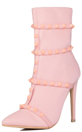 DRAGONA Zip High Heel Stiletto Ankle Boots Shoes - Pink Stretch by SpyLoveBuy