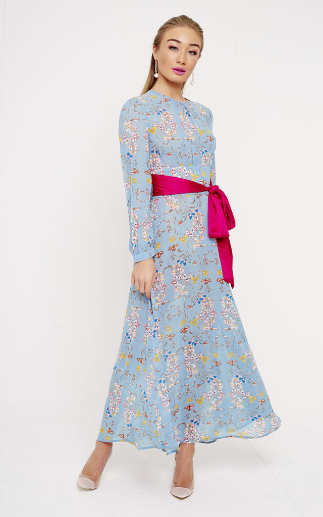 21e161a40b Blue Floral Maxi Dress With Pink Belt | UNIQUE21 | SilkFred