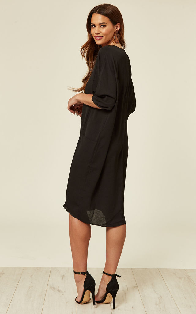 Black Relaxed Fit Midi Dress by DIVINE GRACE