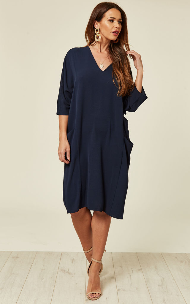 760fb2b9781 Navy Relaxed Fit Midi Dress by DIVINE GRACE