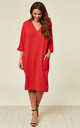 Red Relaxed Fit Midi Dress by DIVINE GRACE