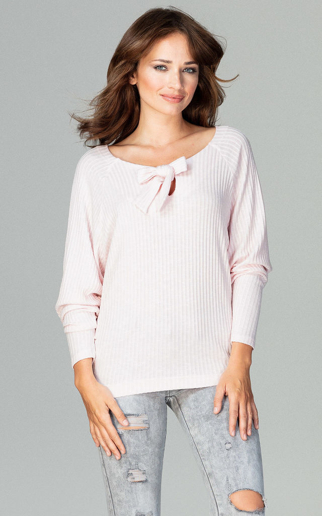 Pink Blouse Tied At The Front by LENITIF