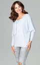 Light Blue Blouse Tied At The Front by LENITIF