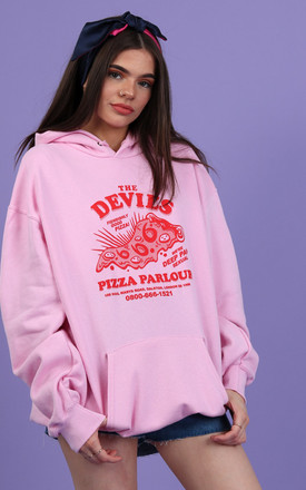100HM Womens Hoodie Oversized Pink with Red Halloween Pizza Graphic by 100 Hail Marys