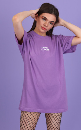 100HM Womens Tshirt Lilac with Embroidered White GAME LOVER by 100 Hail Marys