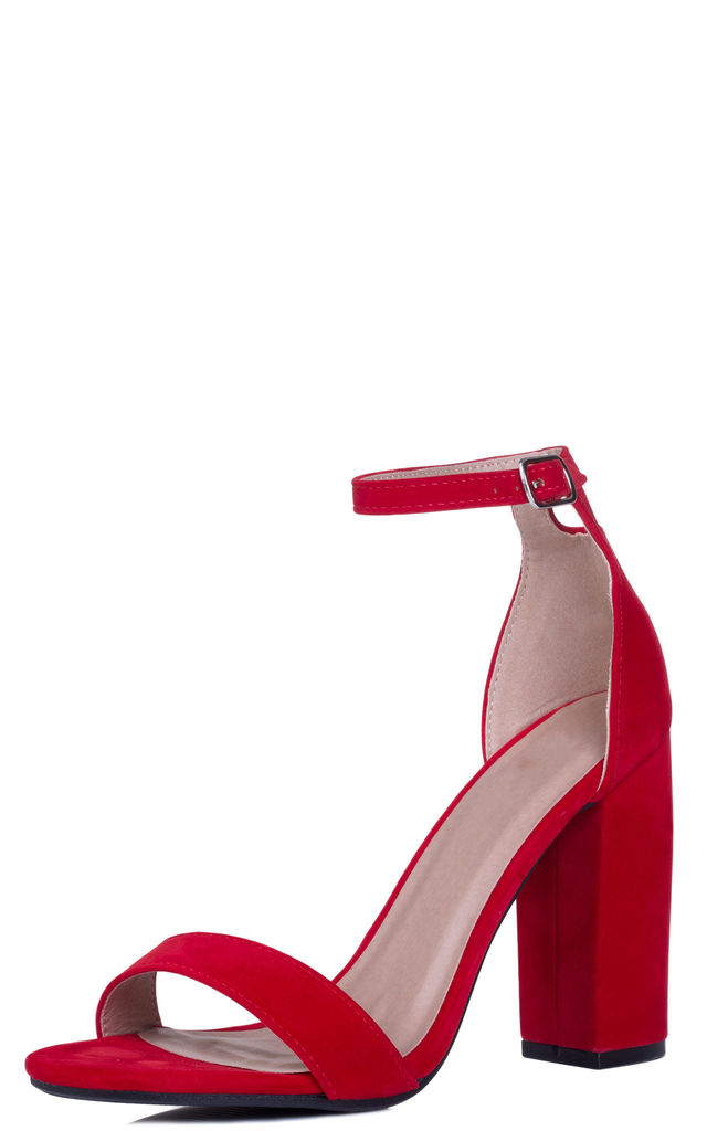 SASS Open Peep Toe Block Heel Sandals Shoes - Red Suede Style by SpyLoveBuy