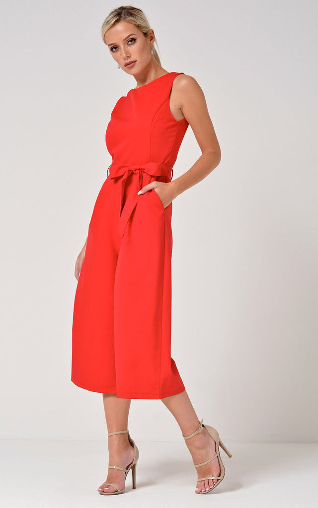 Culotte Round Neck Jumpsuit in Red by Marc Angelo