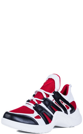 FLYIN Contrast Arched Chunky Sole Sports Trainers - Red Leather Style by SpyLoveBuy