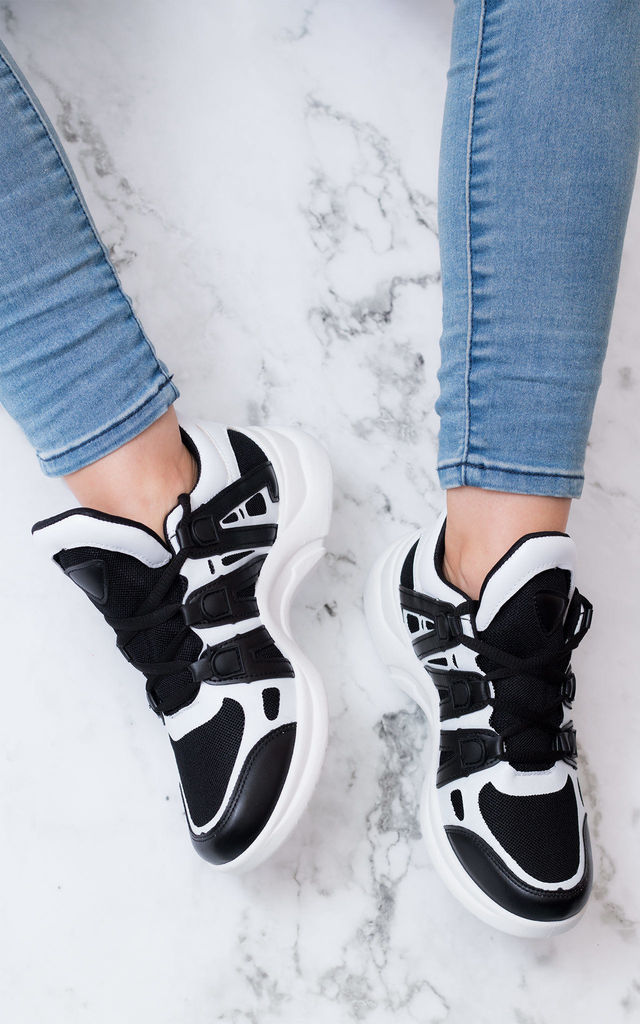 FLYIN Contrast Arched Chunky Sole Sports Trainers - White Leather Style by SpyLoveBuy