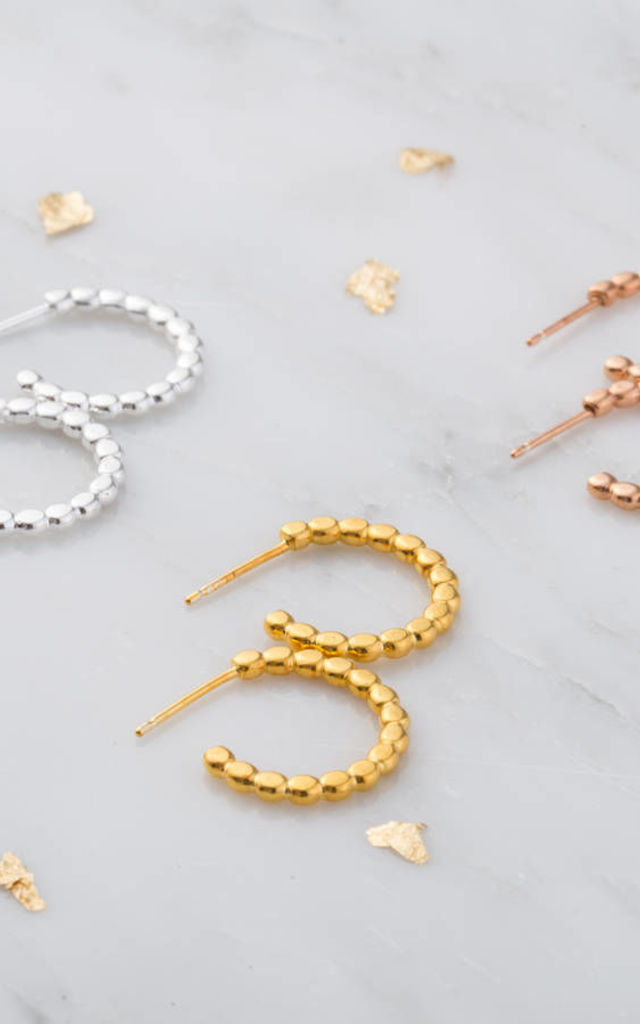 Bead Hoop Earrings in 9ct Yellow Gold by Posh Totty Designs