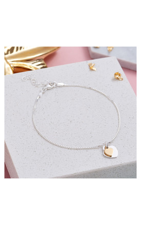Two Tone Sterling Silver & Gold Heart Bracelet by Inscripture