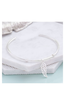 Sterling Silver Angel Wing Bangle by Inscripture