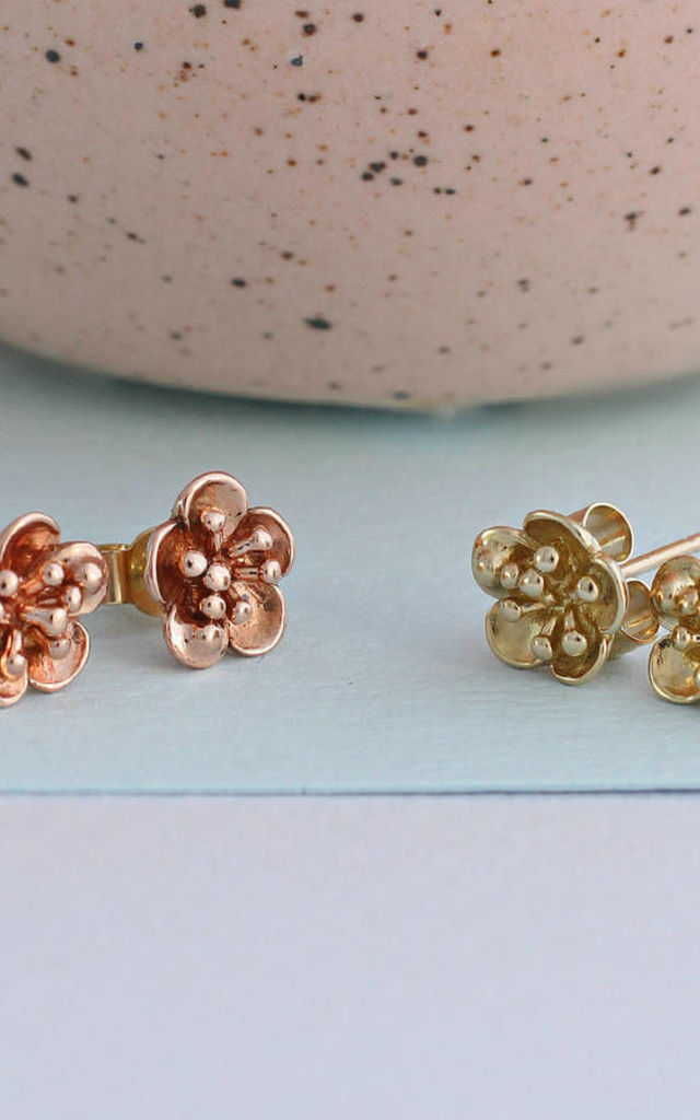 Flower Stud Earrings in 18ct Rose Gold by Posh Totty Designs