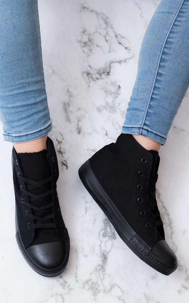 VENOMA Lace Up Flat Hi Top Trainers Shoes - Black Canvas by SpyLoveBuy