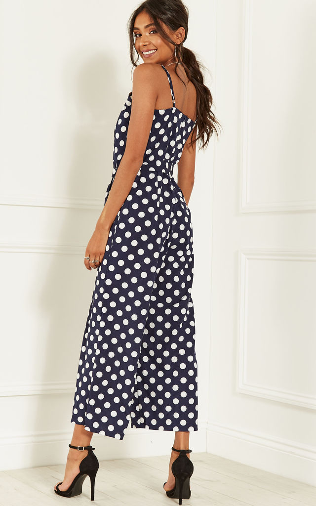 Navy Tie Waist Culotte Jumpsuit with White Dots by Lilah Rose