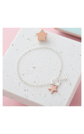 Initial Two-Tone Star T-Bar Bracelet by Inscripture