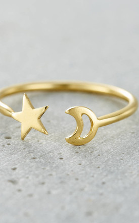 Moon And Star Open Ring in 9ct Yellow Gold by Posh Totty Designs