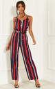 Red Stripe Wide Leg Jumpsuit by Lilah Rose