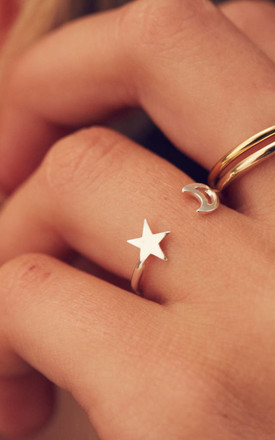 Moon And Star Open Ring in 925 Sterling Silver by Posh Totty Designs