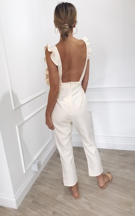 Effie Frill Backless Jumpsuit - Cream by Pretty Lavish