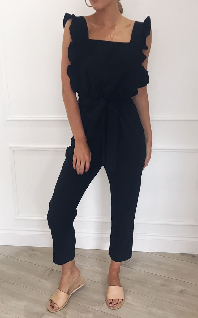 Effie Frill Backless Jumpsuit - Black by Pretty Lavish