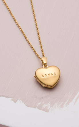 'Loved' Mini Heart Locket in 9ct Yellow gold by Posh Totty Designs
