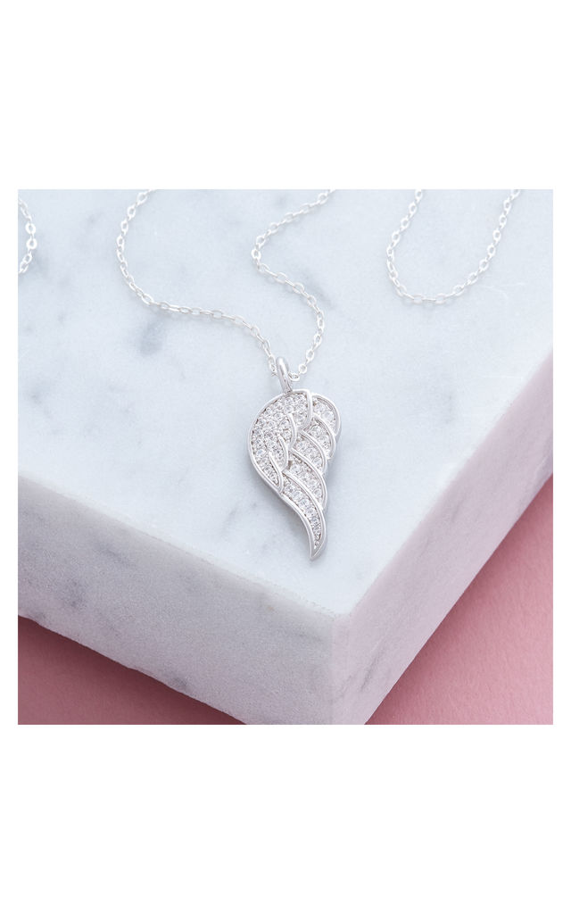 Cubic Zirconia Angel Wing Necklace by Inscripture