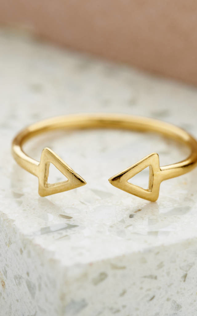 Fine Triangle Open Ring in 9ct Yellow Gold by Posh Totty Designs