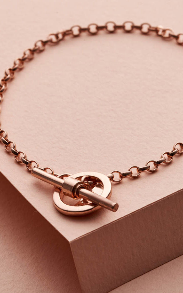 Albert T Bar Charm Bracelet in 9ct Rose Gold Plate by Posh Totty Designs