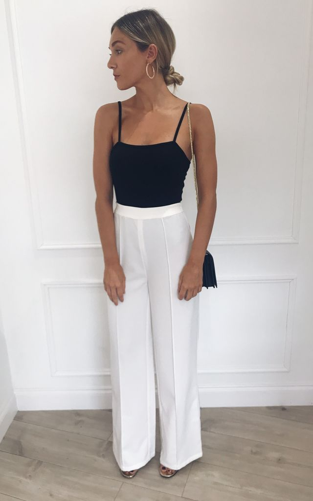 Kingsley High Waisted Tailored Trousers - White by Pretty Lavish
