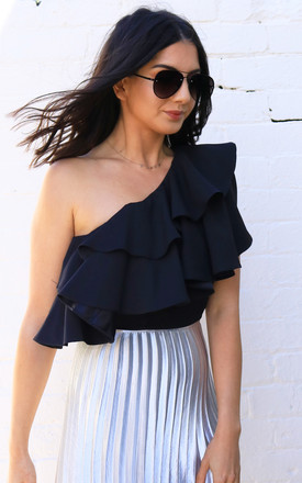 Double Ruffle One Shoulder Top In Black by One Nation Clothing Product photo