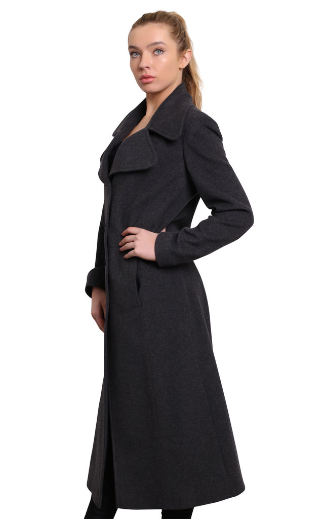 Grey Large Lapel Single Breasted Long Coat by De La Creme Fashions