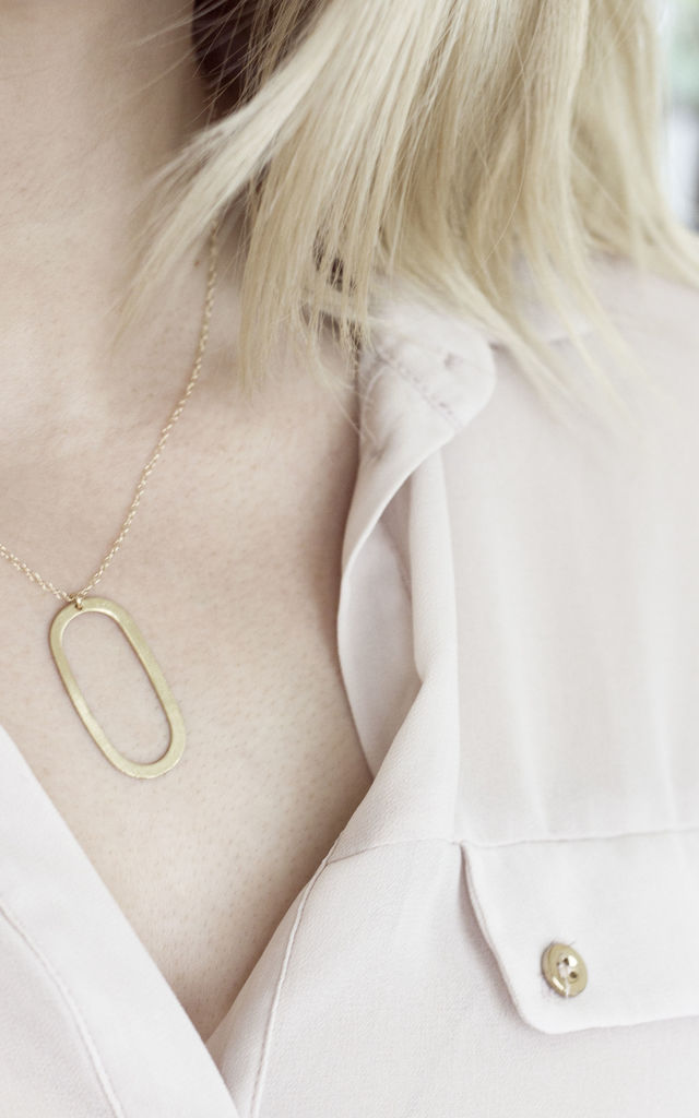 Brushed Brass Oval Necklace by Fawn And Rose