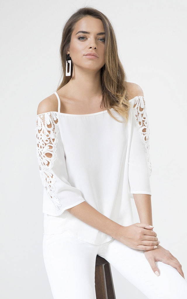 White Lace Detail Cold Shoulder Top by URBAN TOUCH