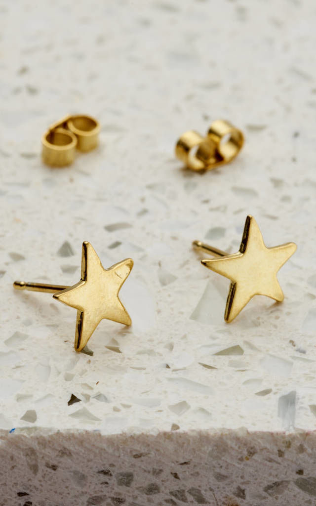 Yellow Gold Star Stud Earrings by Posh Totty Designs