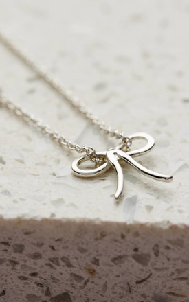 Sterling Silver Bow Charm Necklace by Posh Totty Designs