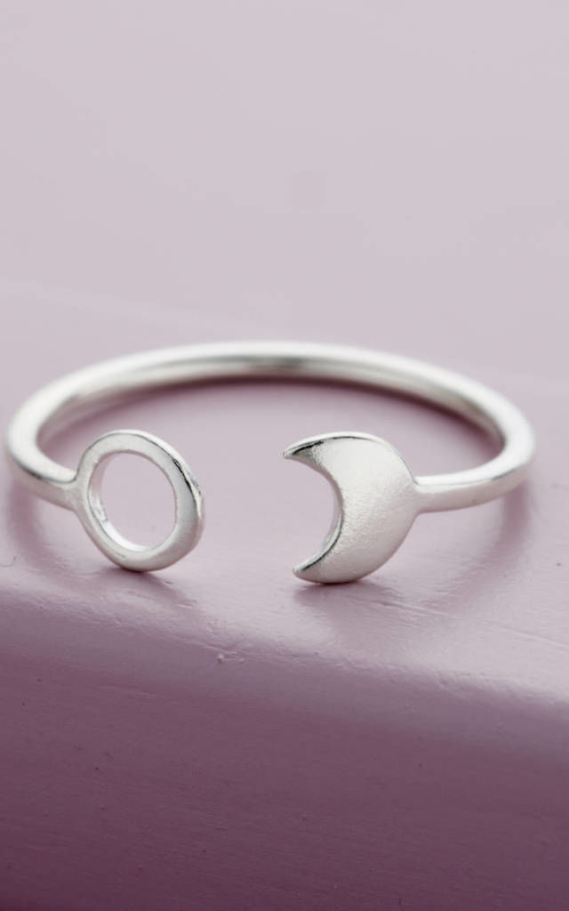 Sun And Moon Open Ring in 925 Sterling Silver by Posh Totty Designs