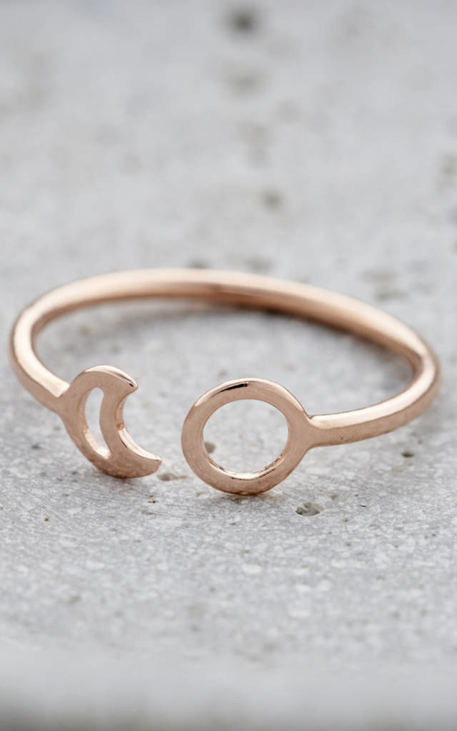 Fine Sun And Moon Open Ring in 18ct Rose Gold by Posh Totty Designs