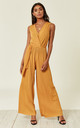 Mustard Pleated Culotte Jumpsuit by DIVINE GRACE
