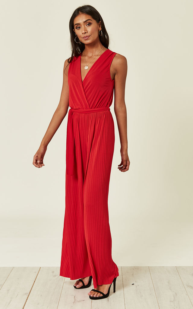 Red Pleated Culotte Jumpsuit by DIVINE GRACE