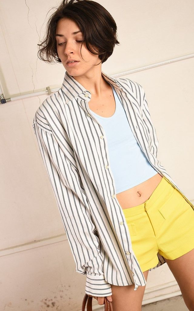 90's retro neutical Paris chic oversized Dad's shirt top by Lover